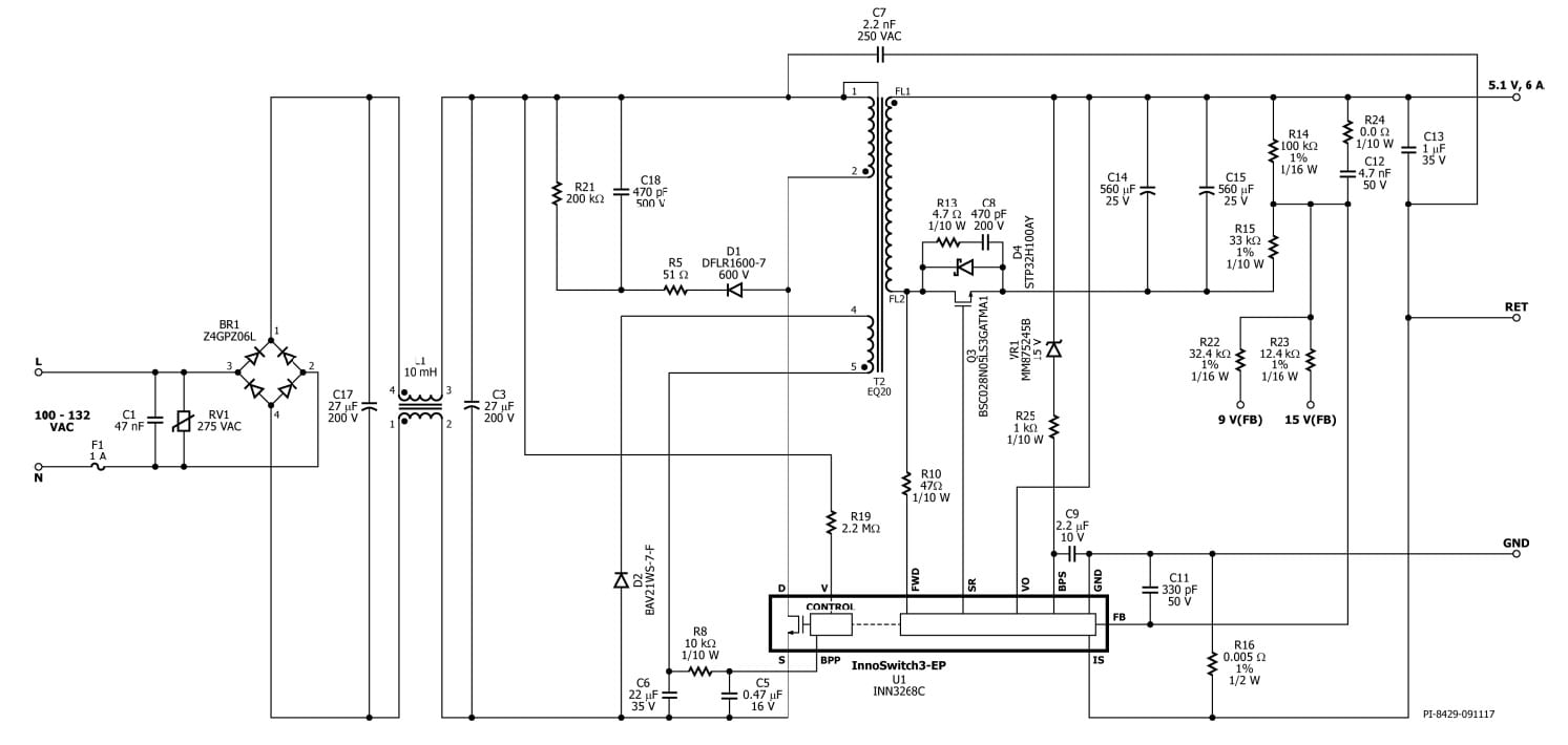 reference design for a 30w power supply with \u003e91% average efficiencypower integrations offers its der 631 reference design of a power supply intended for use as a usb wall outlet charger the 30w output (selectable 5 1v 6a
