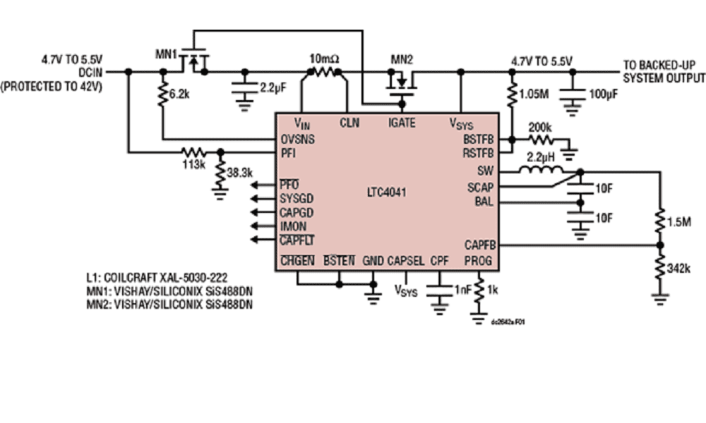 2 5A Supercapacitor Backup Power Manager Demo Board