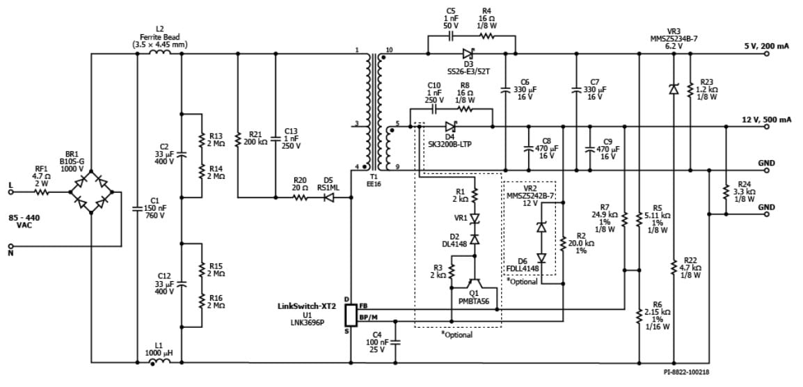 85- to 440-vac input  7w  dual-output flyback reference design