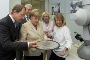German Chancellor Angela Merkel visits state-of-the-art chip manufacturing plant of Infineon Dresden