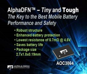 Expanded Portfolio with Lowest On-Resistance Battery Protection Device
