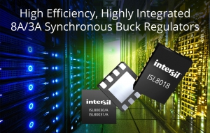 High Efficiency, Highly Integrated 8A and 3A Synchronous Buck Regulators