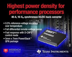 Industry's Highest Current 40-A, 16-VIN Converter Released