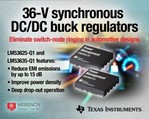 36-V, 2.1-MHz Buck Regulators Eliminate Switch-node Ringing