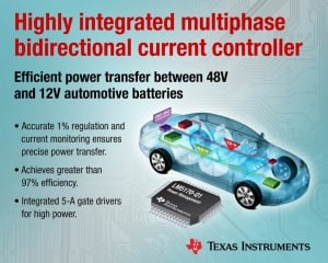 Integrated Buck-Boost Controller Efficiently Transfers Power Between Dual Automotive Battery Systems