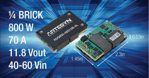800W Quarter Brick DC-DC Converter Provides High Efficiency and Thermal Performance for Telecom, Computing and Server Equipment