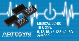 15 W and 20 W DC-DC Converters Feature Medical Safety Approvals