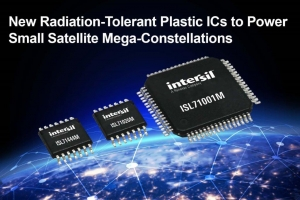 Radiation-Tolerant Plastic ICs to Power Small Satellite Mega-Constellations