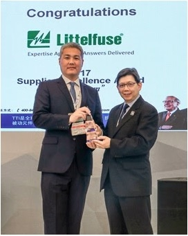 Littelfuse Far East Wins Seventh TTI Supplier Excellence Award for 2017