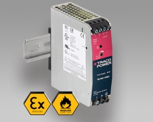 80 W DIN Rail Power Supplies with ATEX & UL HazLoc Certifications Offers 12/24/48V Outputs