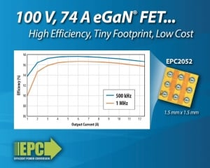 EPC Introduces 100 V eGaN® Power Transistor for 48 V DC-DC, Motor Drives, and Lidar Applications