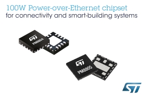 STMicroelectronics Brings New 100W Power-over-Ethernet Standard to Connectivity and Smart-Building Applications