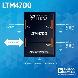 Analog Devices Introduces Dual 50A or Single 100A Step-Down µModule
