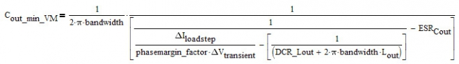 The derivation for the minimum needed output capacitor for voltage mode (second order system) leads to the following equation: