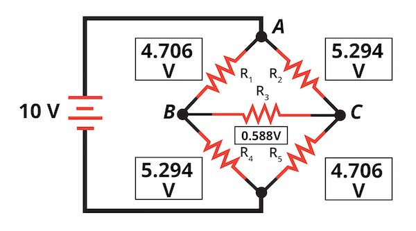 the voltage across each resistor