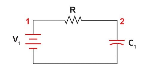 RC circuit connected to a battery