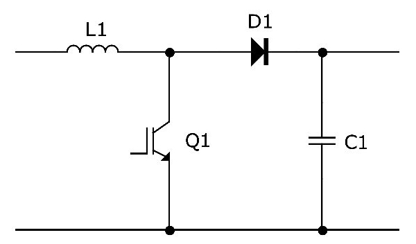 Principle diagram of a boost converter