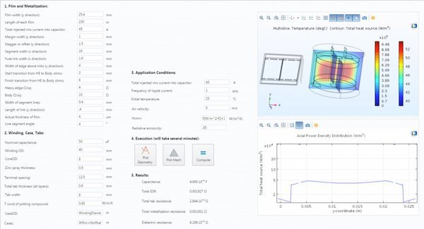 A simulation app that predicts the core temperature distribution and the power density for the film of a cylindrical capacitor with tabs and terminals