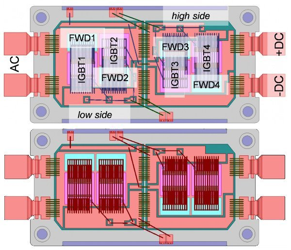 CAD pictures of the power modules version1 (top) including the labelling of the various chips and version2 (bottom)