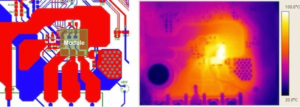 PCB layout and thermal camera measurement result