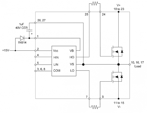 Application circuit with bootstrap diode, capacitor & gate resistor