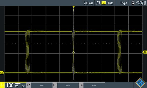 Measuring the switching cycle of a GaN-based power factor correction (PFC) output stage.