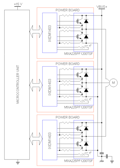 A typical application circuit of a three-phase motor driver.