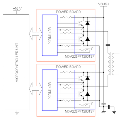 A typical application circuit of a full-bridge inverter.