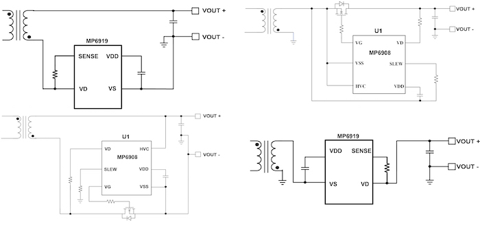 An MP6908 controller and ideal diode application circuit on thelow side and high side.