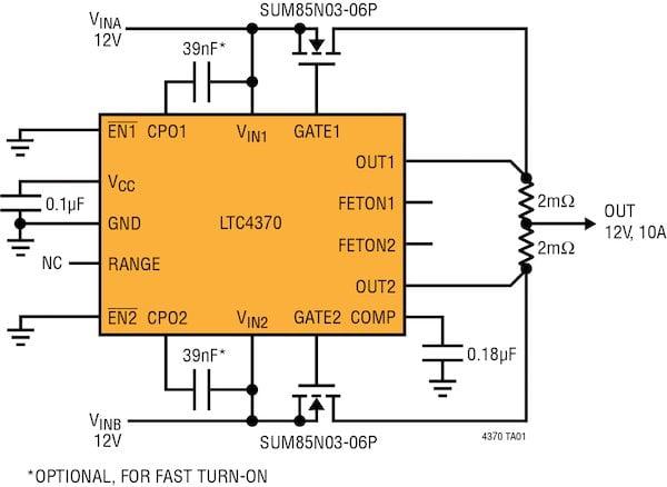 LTC4370 Dual Redundant Power Source Sharing