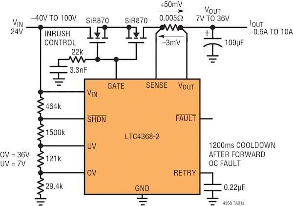 LTC4368 Bidirectional Circuit Breaker with Protection