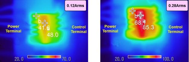 Heatsink-less operation captured using a thermal camera