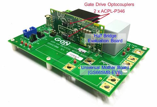 Half bridge evaluation board with GaN Systems GaN and ACPL-P346