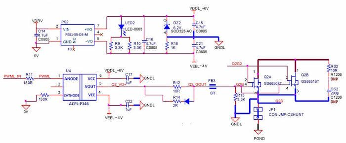 Schematic of ACPL-P346 gate drive circuit for GaN Systems half bridge evaluation board