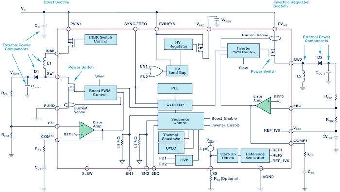Switching converter using ADP5070 regulator.