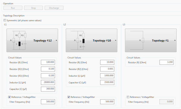 Graphical interface of ACSControl software: The R-L-Ctopology can be set per phase.