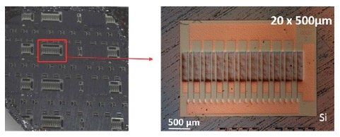 Optical backside image of the wafer with and without LSR removal patterns, and a 20×500 μm GaN-based MISHEMT after LSR