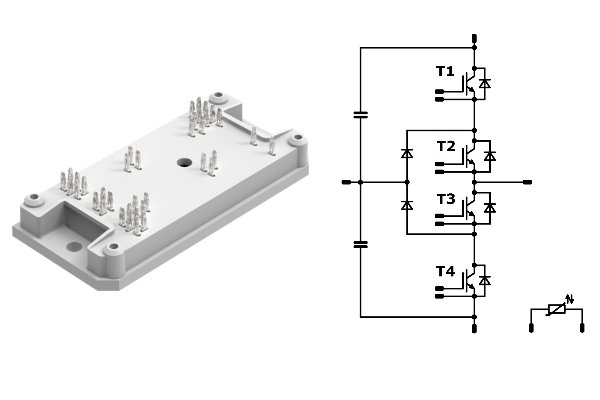 flowNPC 1 with integrated DC capacitors, 650 V very fast IGBT, fast diodes and a temperature sensor