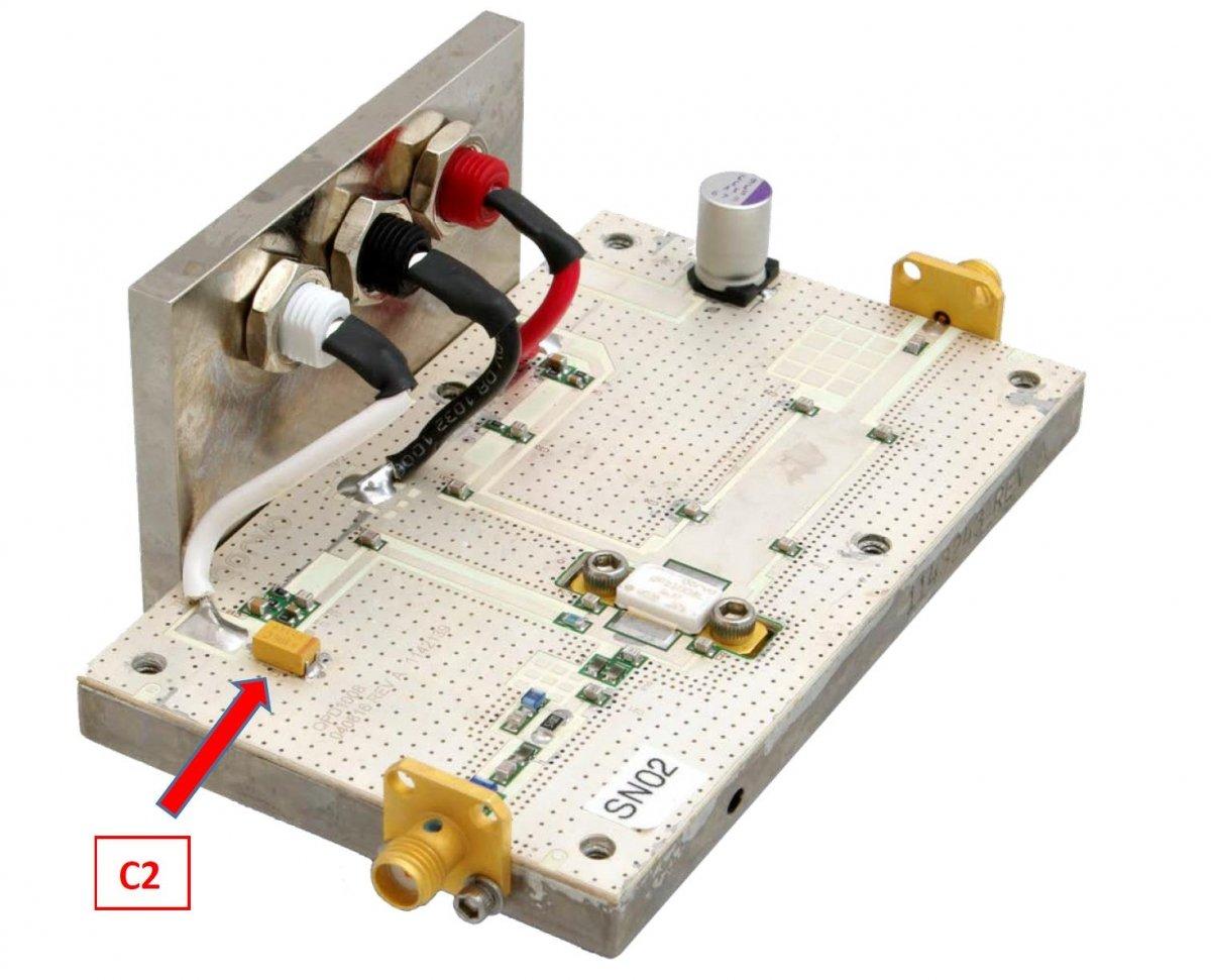 GaN QPD1008 evaluation test board with C2 tantalum capacitor.