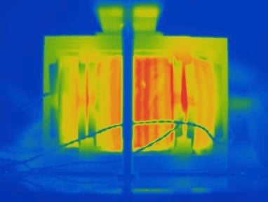 IR image of an 11kW transformer with load.
