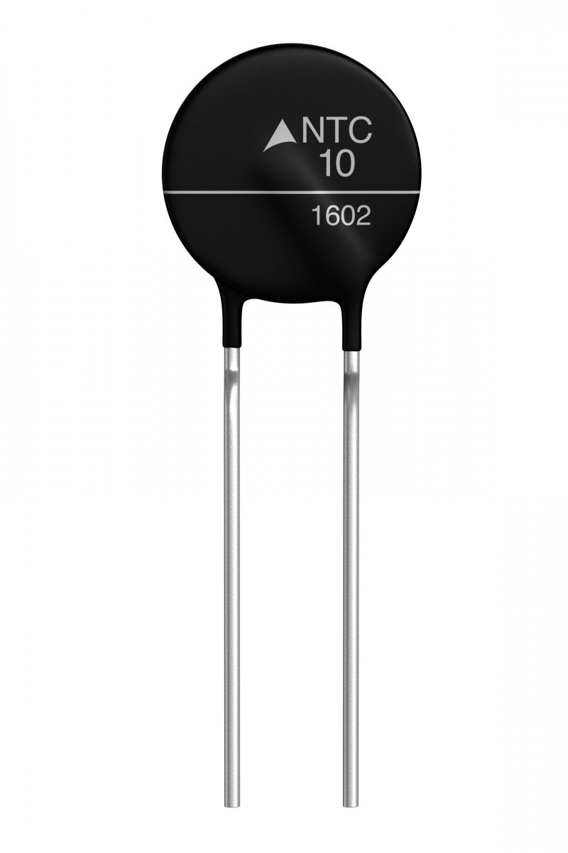 NTC inrush current limiter with a starting resistance R25 of 10 Ω.