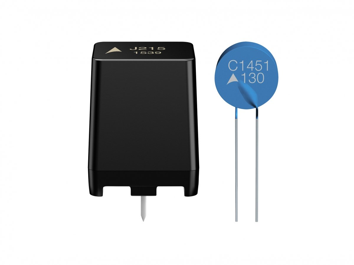 PTC thermistors in housed and standard disk designs.
