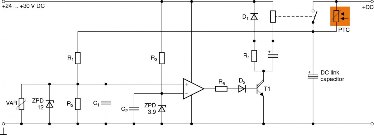 Voltage-controlled bypass for PTC thermistors.