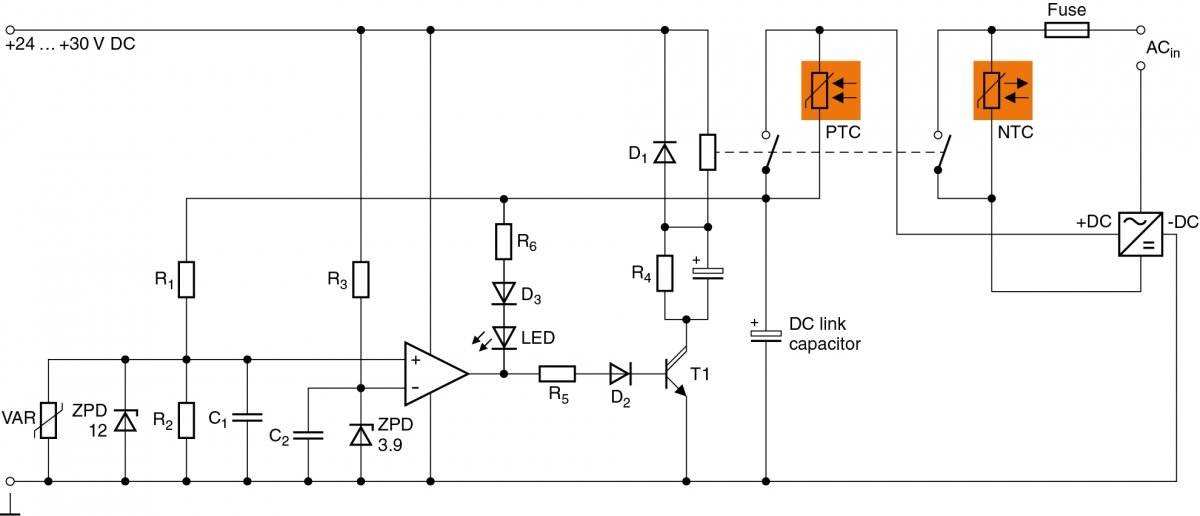Voltage-controlled combination of NTC and PTC inrush current limiters.