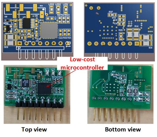 Primary side digital controller daughter card PCB layout (top) and pictures (bottom).