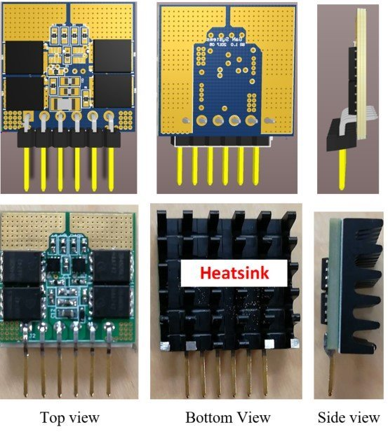 Secondary side synchronized rectifier daughter card PCB layout (left) and pictures (right).