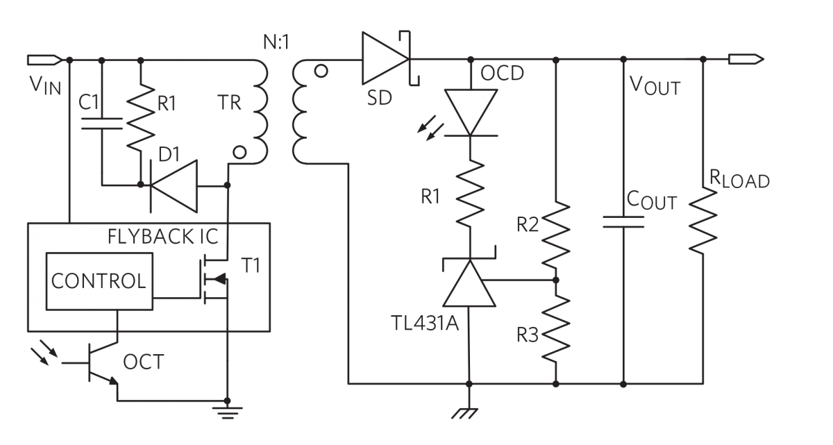 Flyback with Integrated Power Transistor