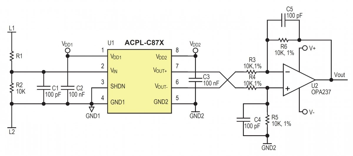 High voltage measurement with conversion to an isolated ground referenced output.