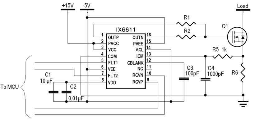 Over-current protection using IX6611 ICM comparator and current sense resistor.