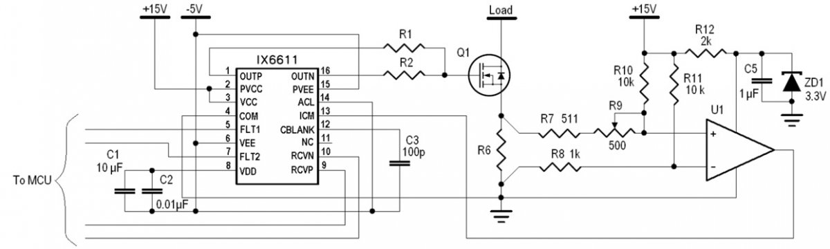 Over-current protection using IX6611 ICM comparator, current sense resistor, and an additional comparator.